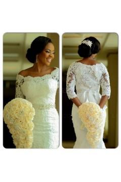 Elegant Mermaid 3/4 Length Sleeves Lace Plus Size Wedding Dresses Bridal Gowns 3030020