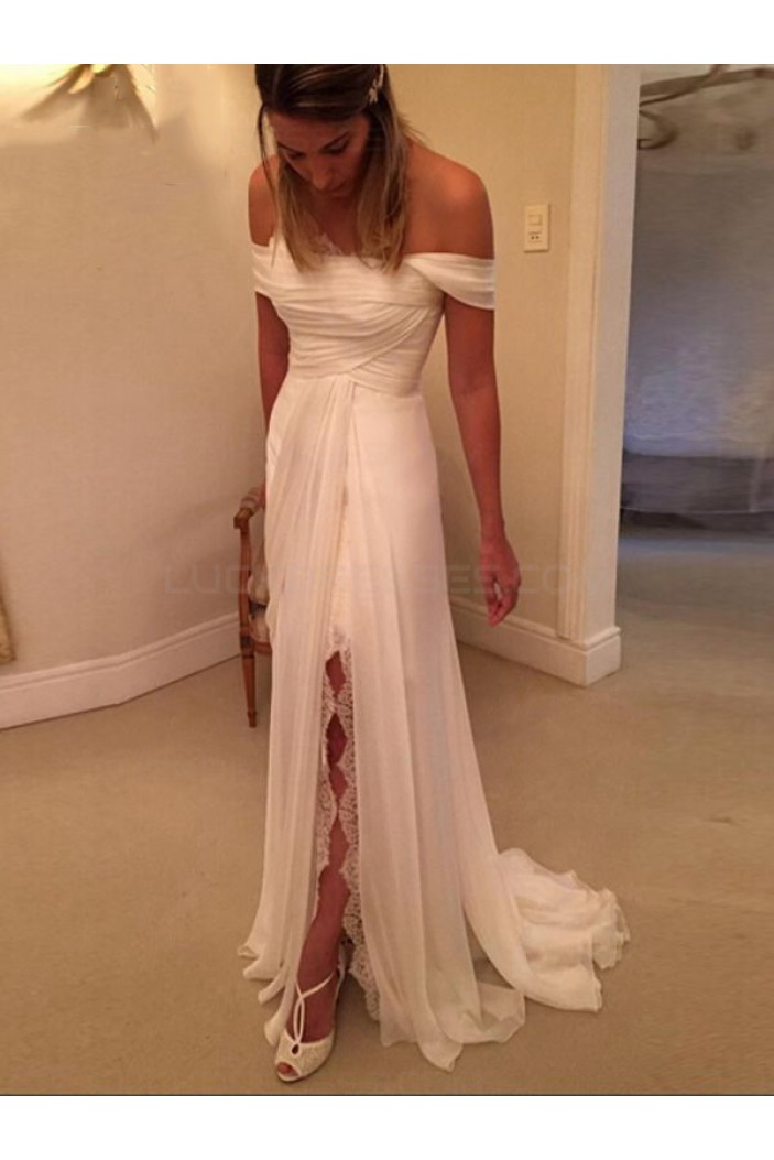 Chiffon Lace Off-the-Shoulder Wedding Dresses Bridal Gowns 3030024