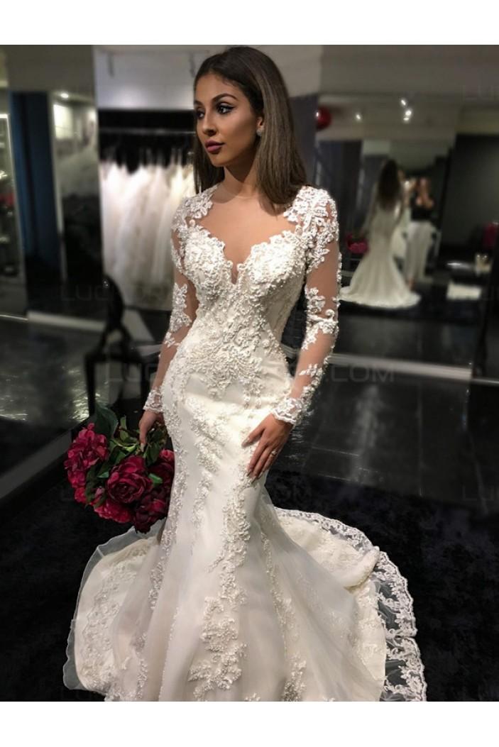 Mermaid Long Sleeves Lace Wedding Dresses Bridal Gowns 3030025
