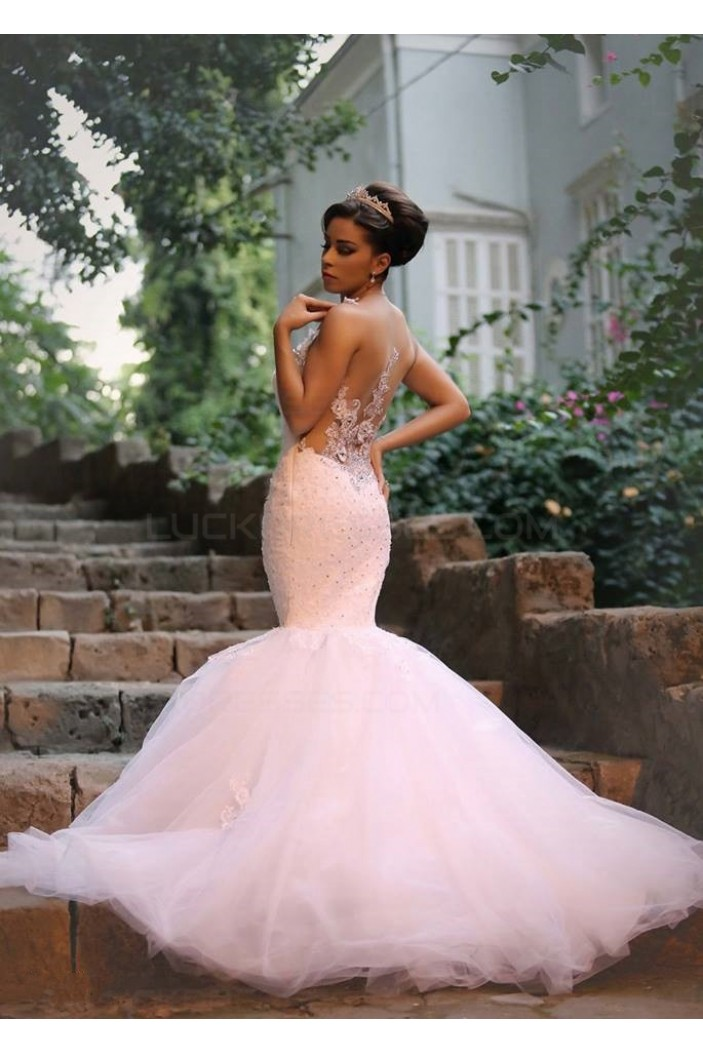 Mermaid Lace Straps Sleeveless Wedding Dresses Bridal Gowns 3030026