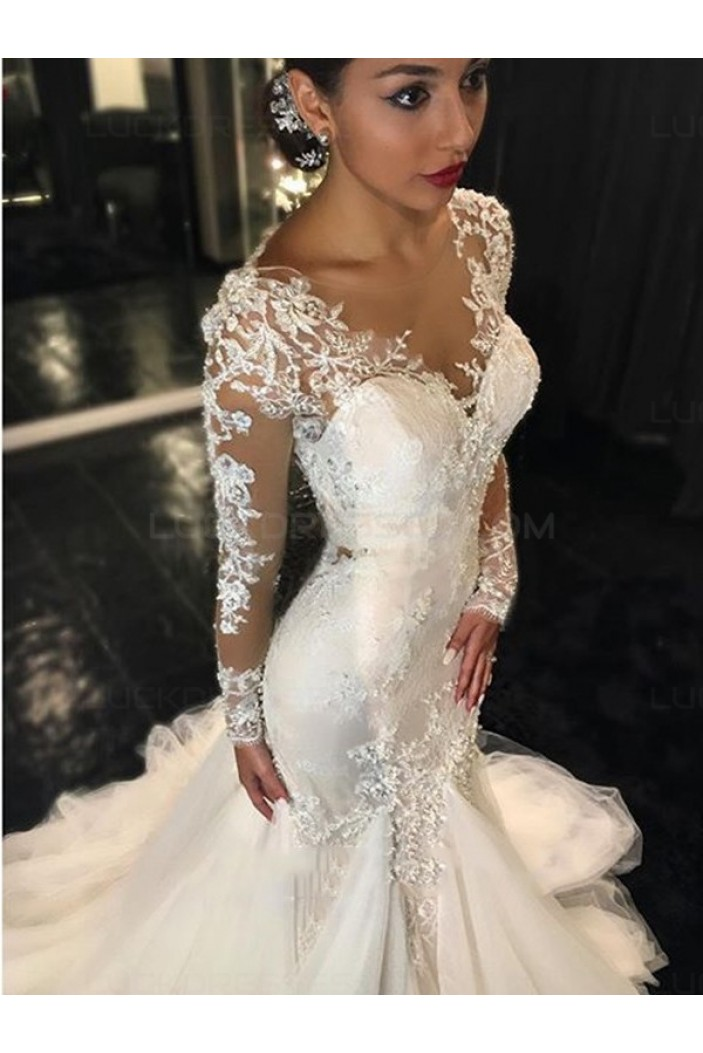 Mermaid Long Sleeves V-Neck Lace Wedding Dresses Bridal Gowns 3030027