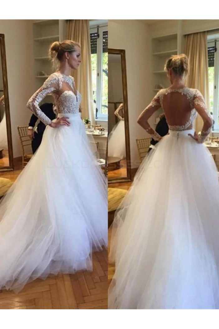 Long Sleeves Lace Tulle Open Back Wedding Dresses Bridal Gowns 3030029