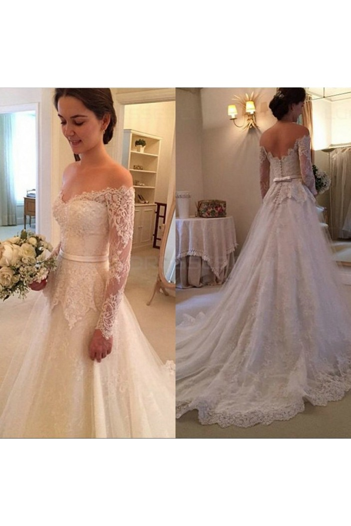A-Line Off-the-Shoulder Long Sleeves Lace Wedding Dresses Bridal Gowns 3030030
