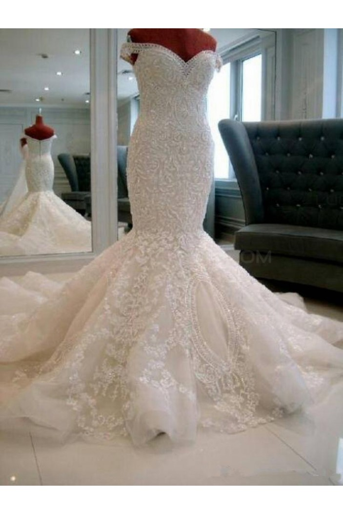 Mermaid Off-the-Shoulder Lace Wedding Dresses Bridal Gowns 3030036