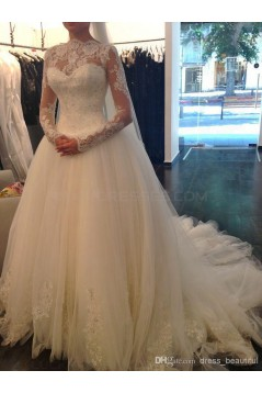 Long Sleeves Tulle Lace Wedding Dresses Bridal Gowns 3030047