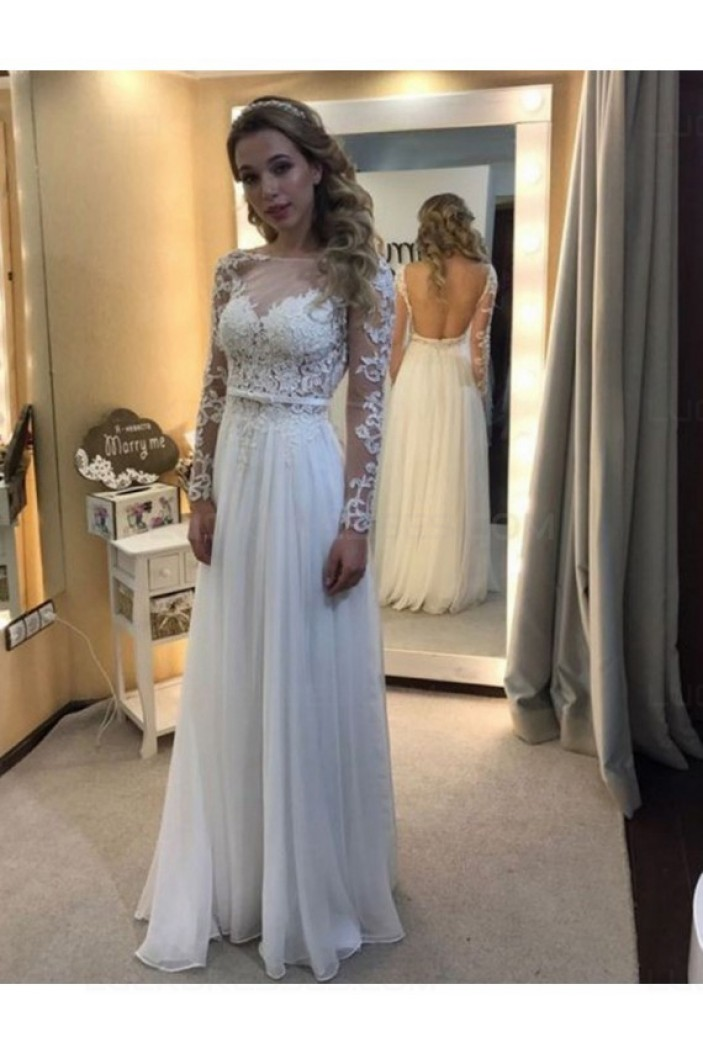 Long Sleeves Lace Chiffon Floor Length Wedding Dresses Bridal Gowns 3030050