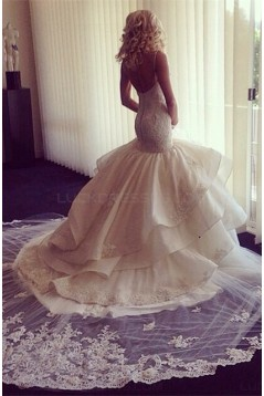 Mermaid Spaghetti Straps Lace Wedding Dresses Bridal Gowns 3030051