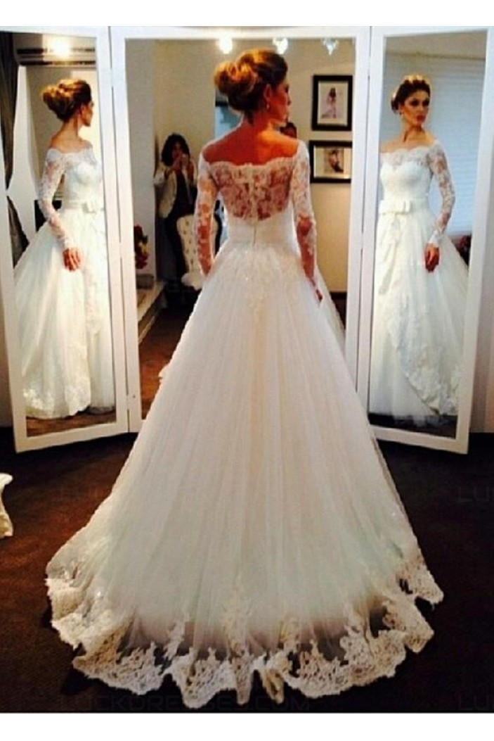 Long Sleeves Off-the-Shoulder Lace Wedding Dresses Bridal Gowns 3030054
