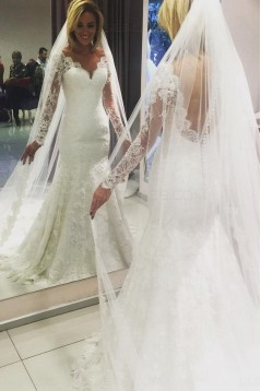 Long Sleeves V-Neck Lace Mermaid Wedding Dresses Bridal Gowns 3030060
