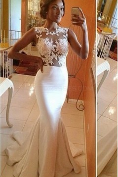 Mermaid Lace Illusion Bodice Wedding Dresses Bridal Gowns 3030061