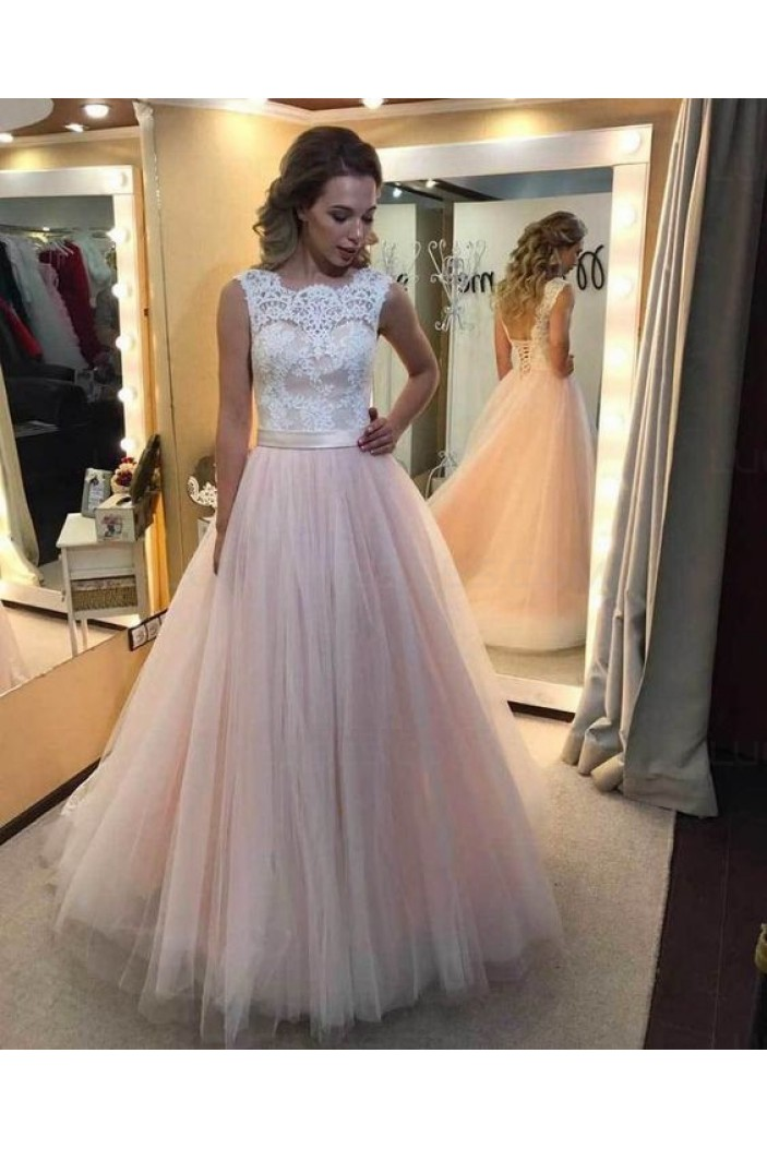 Lace and Tulle Sleeveless Wedding Dresses Bridal Gowns 3030067