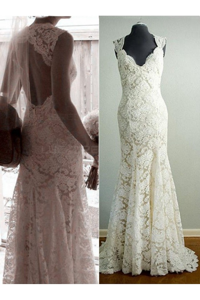 Mermaid V-Neck Lace Wedding Dresses Bridal Gowns 3030068