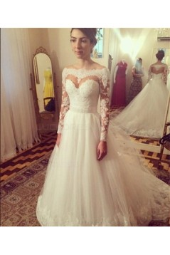 Long Sleeves Off-the-Shoulder Lace Tulle Wedding Dresses Bridal Gowns 3030070