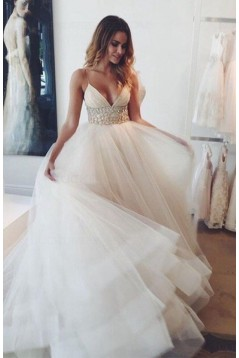 Spaghetti Straps Tulle Wedding Dresses Bridal Gowns 3030075