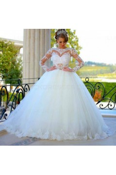 Ball Gown Long Sleeves Lace Wedding Dresses Bridal Gowns 3030080