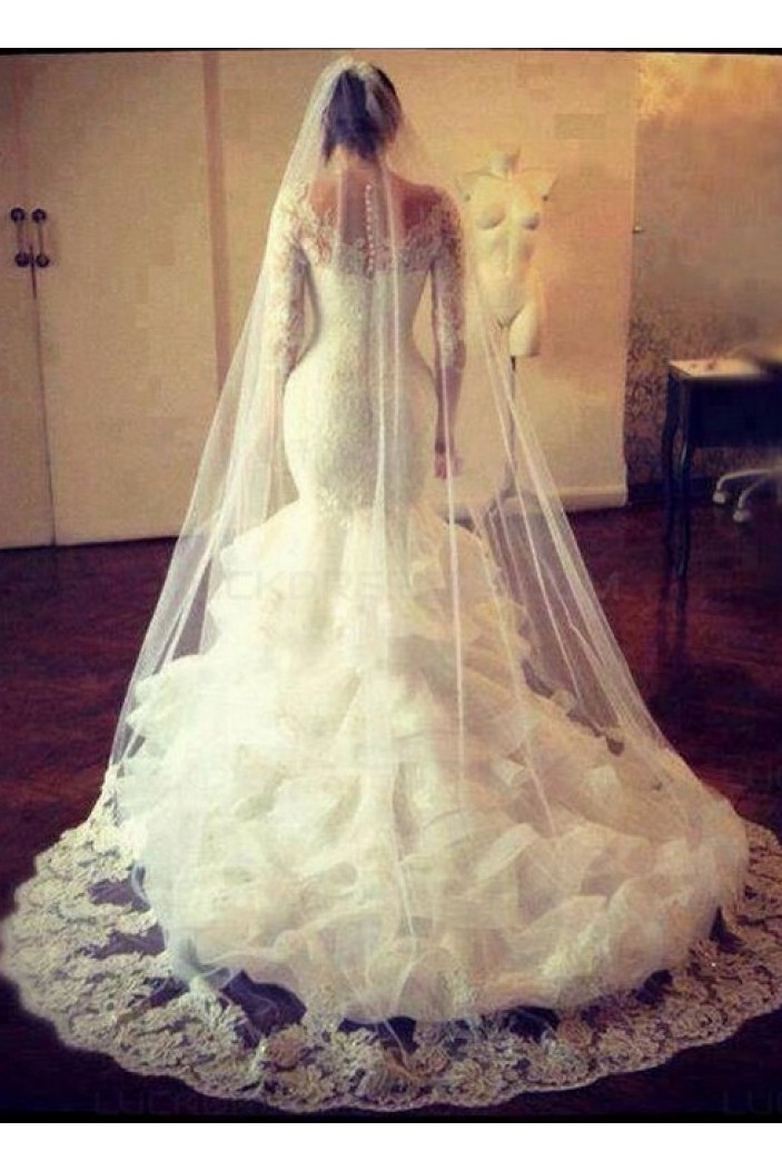 Long Sleeves Mermaid Lace Wedding Dresses Bridal Gowns 3030081
