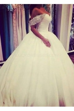 Ball Gown Off-the-Shoulder Beaded Tulle Wedding Dresses Bridal Gowns 3030082
