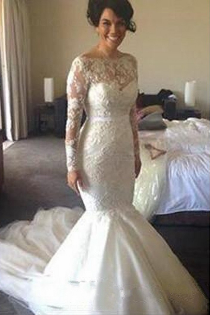 Long Sleeves Mermaid Lace Wedding Dresses Bridal Gowns 3030083