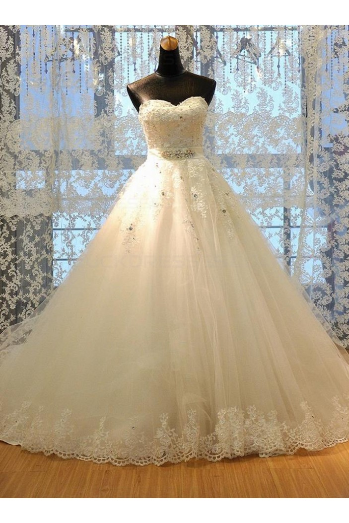 A-Line Sweetheart Crystal Lace Wedding Dresses Bridal Gowns 3030084
