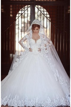 Long Sleeves Lace Tulle Ball Gown Wedding Dresses Bridal Gowns 3030085