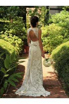 Sheath Open Back Lace Sleeveless Wedding Dresses Bridal Gowns 3030090