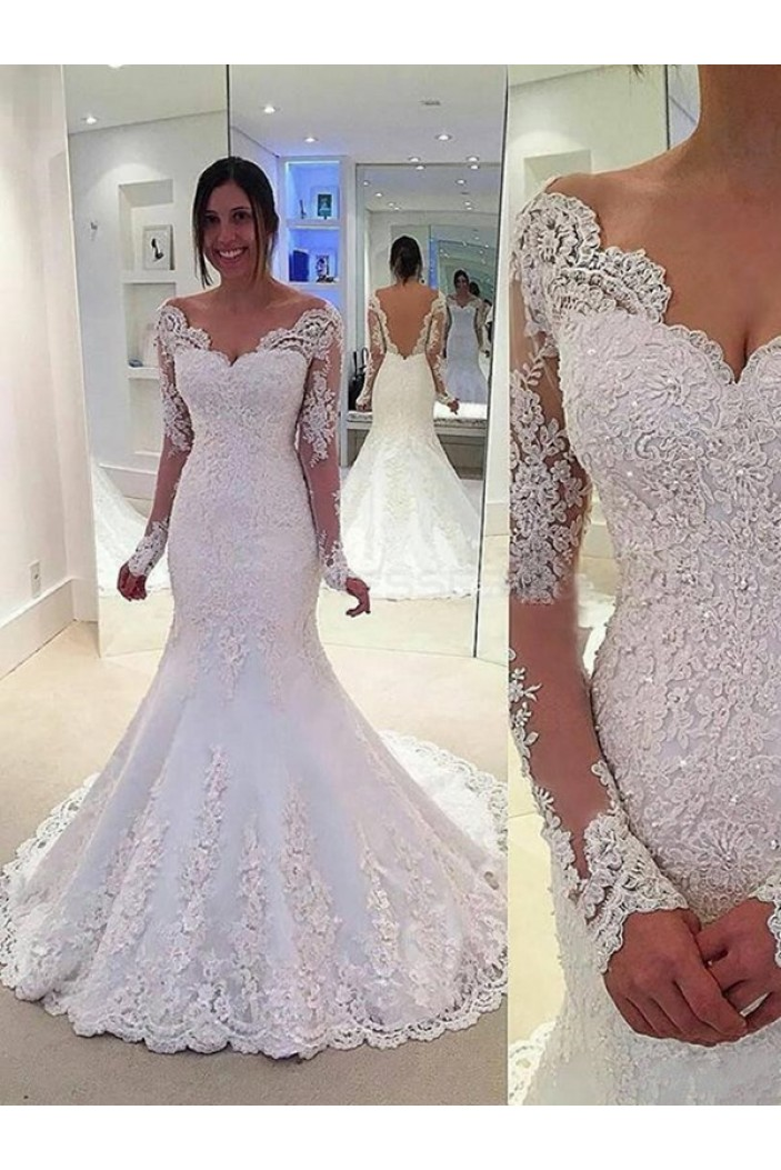 Lace Long Sleeves Mermaid Backless Wedding Dresses Bridal Gowns 3030093