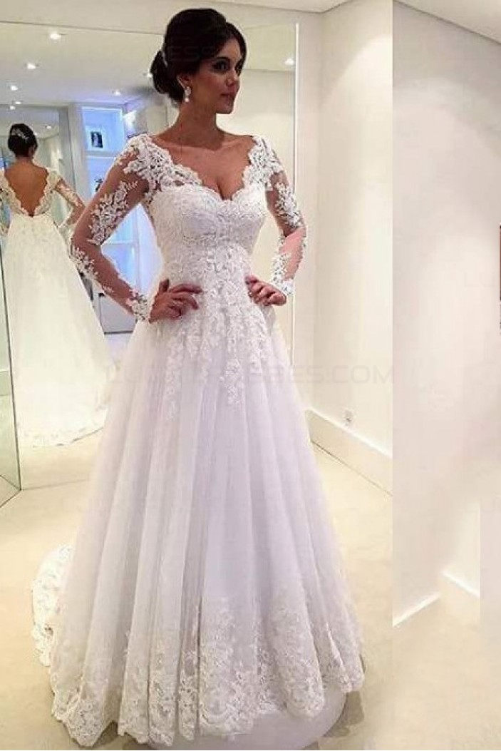 A-Line Long Sleeves Lace V-Neck Wedding Dresses Bridal Gowns 3030095