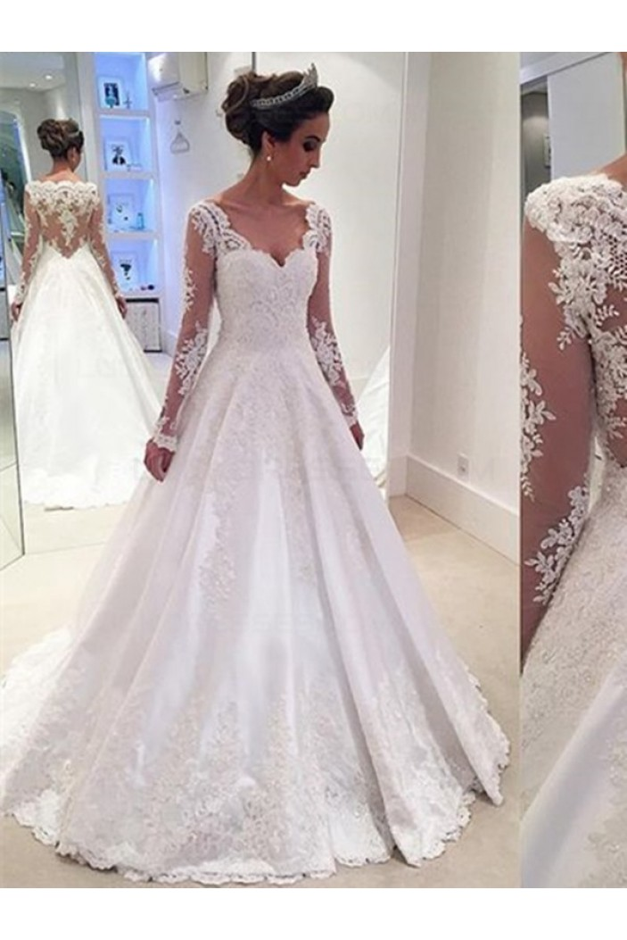A-Line Long Sleeves Lace V-Neck Wedding Dresses Bridal Gowns 3030096