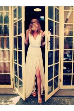 Sheath Chiffon Lace V-Neck Wedding Dresses Bridal Gowns 3030101