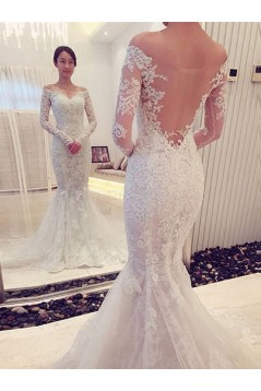 Mermaid Off-the-Shoulder Long Sleeves Lace Wedding Dresses Bridal Gowns 3030102