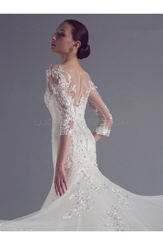 Mermaid 3/4 Length Sleeves Lace Wedding Dresses Bridal Gowns 3030104