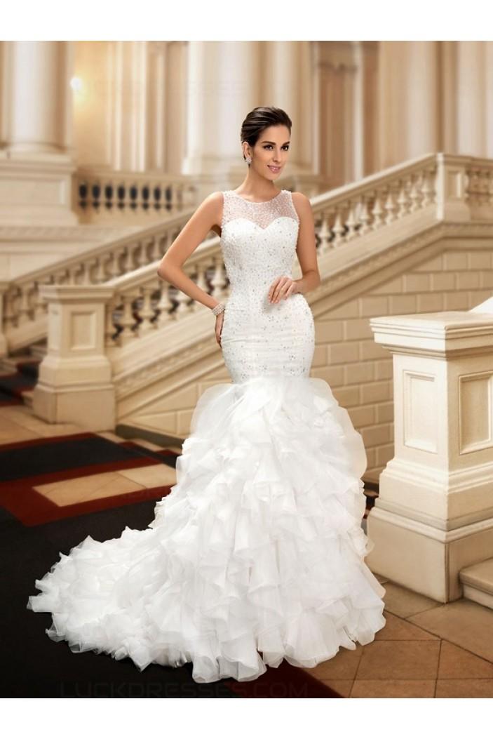 Mermaid Beaded Sleeveless Wedding Dresses Bridal Gowns 3030106