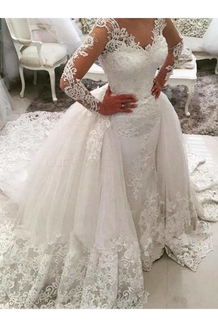Long Sleeves V-Neck Lace Wedding Dresses Bridal Gowns 3030107