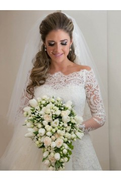 Long Sleeves Off-the-Shoulder Lace Wedding Dresses Bridal Gowns 3030110