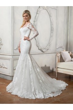 Long Sleeves Mermaid Illusion Neckline Lace Wedding Dresses Bridal Gowns 3030112