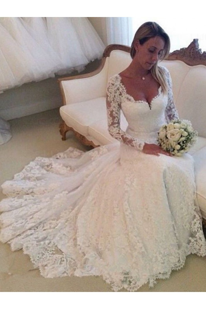 Long Sleeves Lace Wedding Dresses Bridal Gowns 3030113