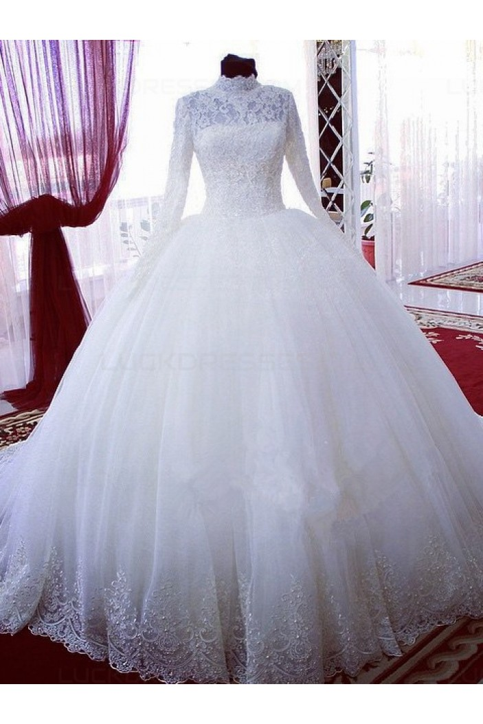 High Neck Long Sleeves Bridal Ball Gown Wedding Dresses Bridal Gowns 3030122