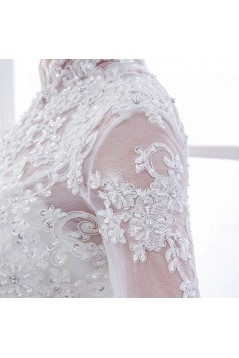 High Neck Long Sleeves Lace Wedding Dresses Bridal Gowns 3030127