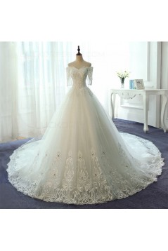 Short Sleeves Off-the-Shoulder Lace Wedding Dresses Bridal Gowns 3030129