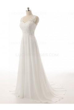 A-Line Lace Chiffon V-Neck Wedding Dresses Bridal Gowns 3030131