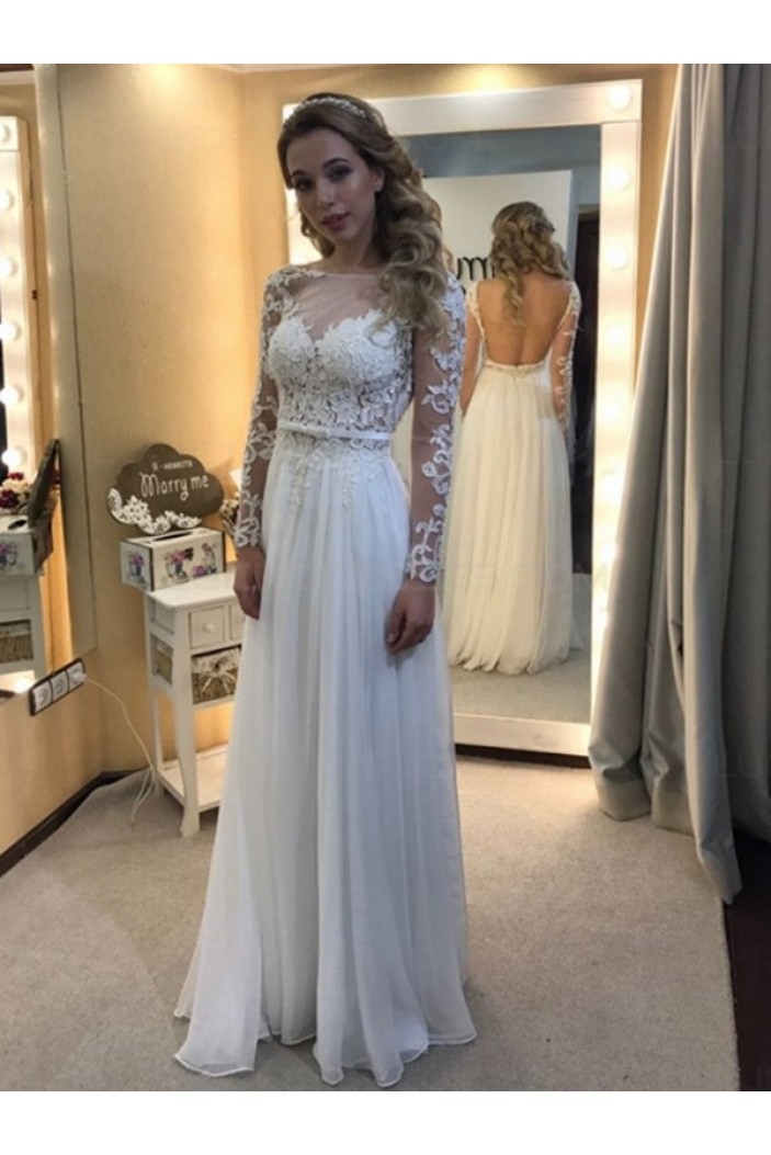 Long Sleeves Lace Chiffon Backless Wedding Dresses Bridal Gowns 3030134