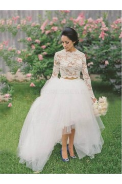 Two Pieces Long Sleeves Lace Tulle Wedding Dresses Bridal Gowns 3030136