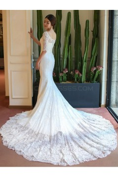Mermaid Half Sleeves Lace Wedding Dresses Bridal Gowns 3030143
