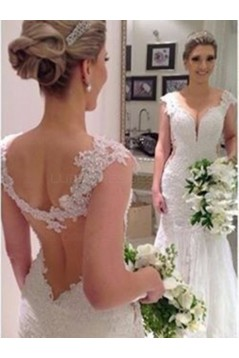 Sexy Mermaid V-Neck Lace Wedding Dresses Bridal Gowns 3030144