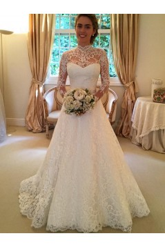 A-Line High Neck Long Sleeves Keyhole Back Lace Wedding Dresses Bridal Gowns 3030148
