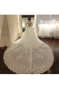 Long Sleeves Ball Gown Chapel Train Lace Wedding Dresses Bridal Gowns 3030149