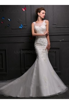 Mermaid Lace Sleeveless Wedding Dresses Bridal Gowns 3030151