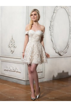 High Low Off-the-Shoulder Lace Wedding Dresses Bridal Gowns 3030153