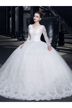 Ball Gown V-Neck Long Sleeves Lace Wedding Dresses Bridal Gowns 3030155