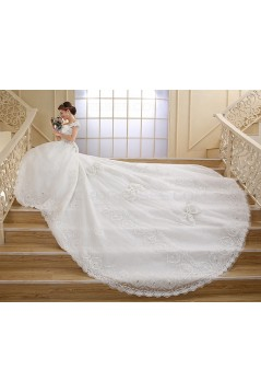 Ball Gown Off-the-Shoulder Lace Crystal Wedding Dresses Bridal Gowns 3030156